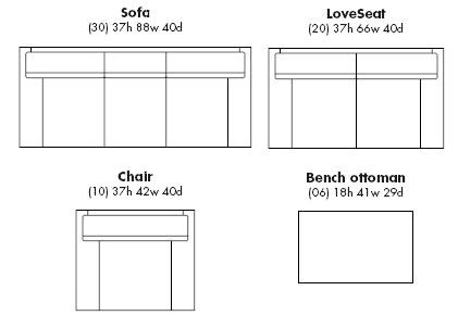 What are the dimensions of a standard loveseat individual bottom